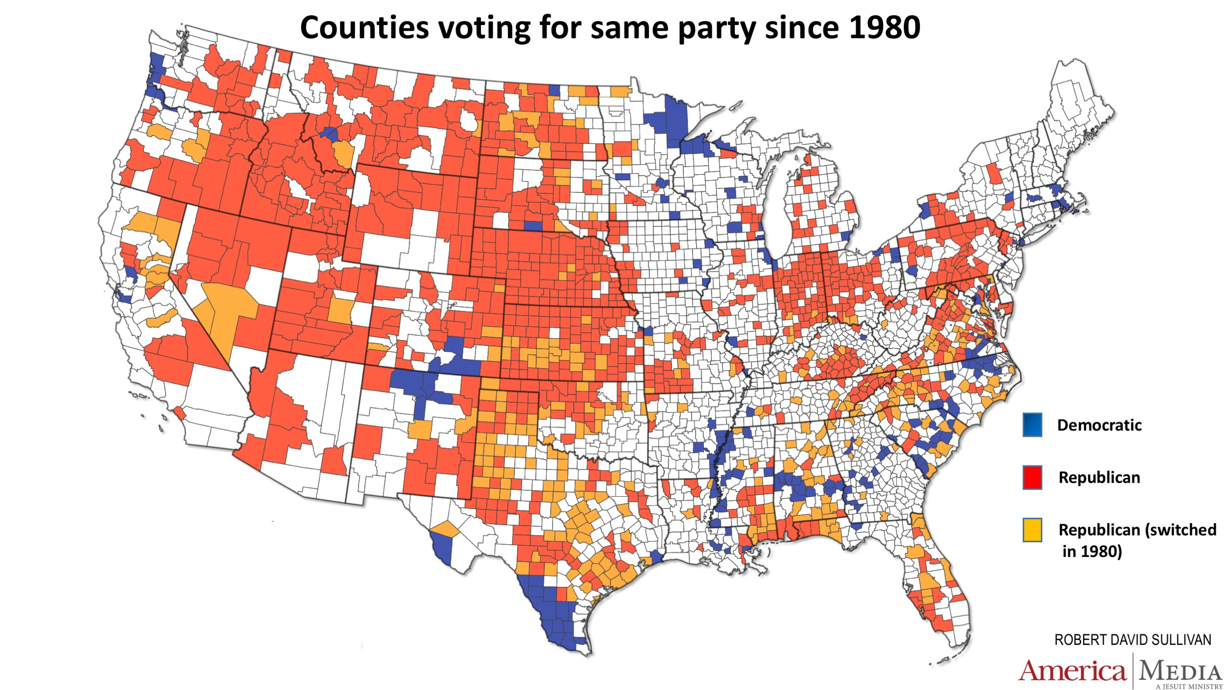 How The Red And Blue Map Evolved Over The Past Century America - Rural vs suburb us map