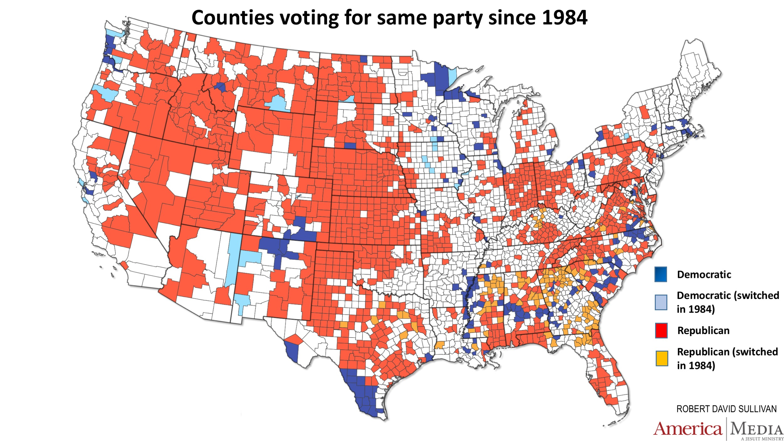 How The Red And Blue Map Evolved Over The Past Century America - Us political map 1950