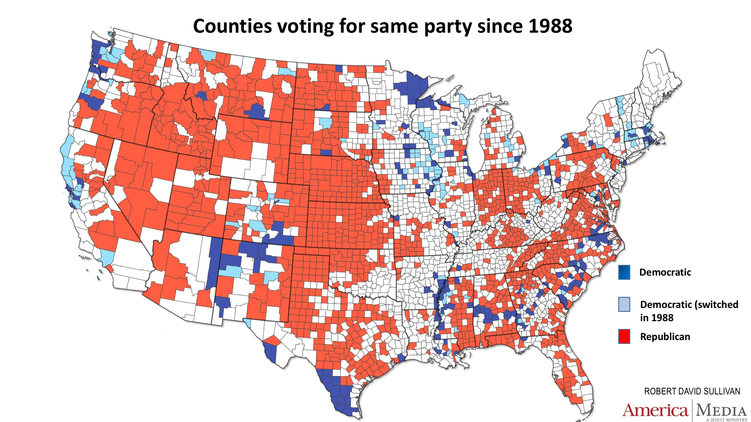 How The Red And Blue Map Evolved Over The Past Century America - 1988 us electoral map