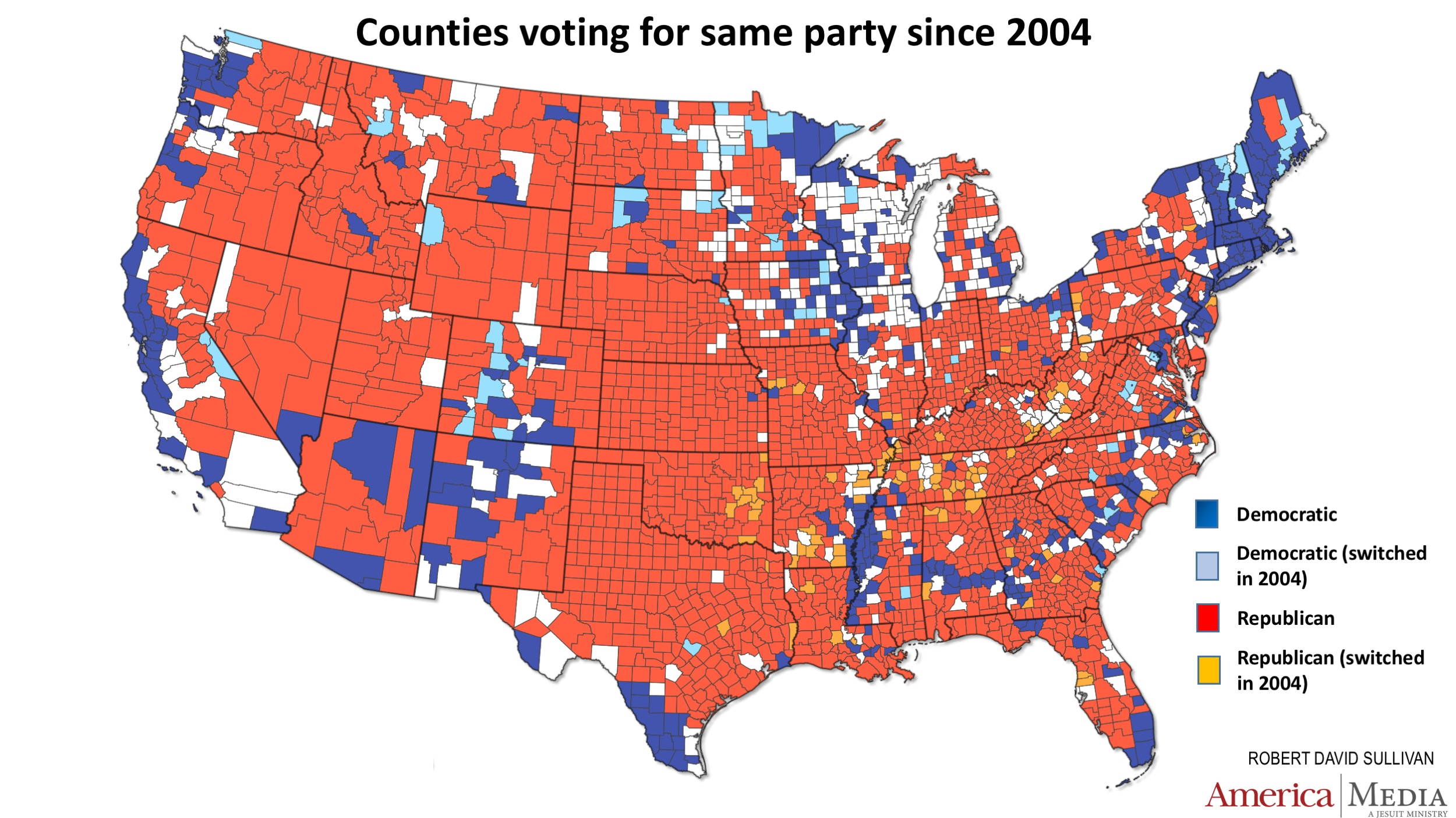 How The Red And Blue Map Evolved Over The Past Century America - Us presidential map 2004