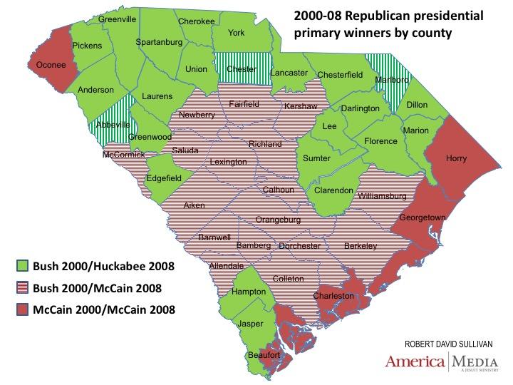 South Carolina Unlikely To Be Republican Tiebreaker This Year - South carolina political map