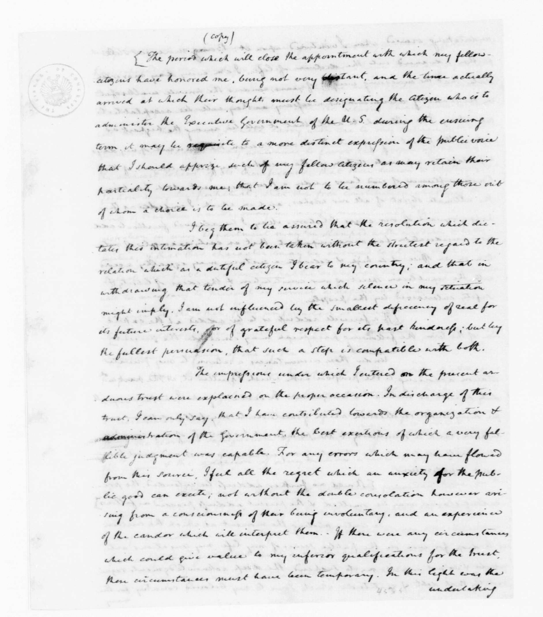 Manuscript: James Madison to George Washington, June 21, 1792. Draft of Address, Washington's Farewell.