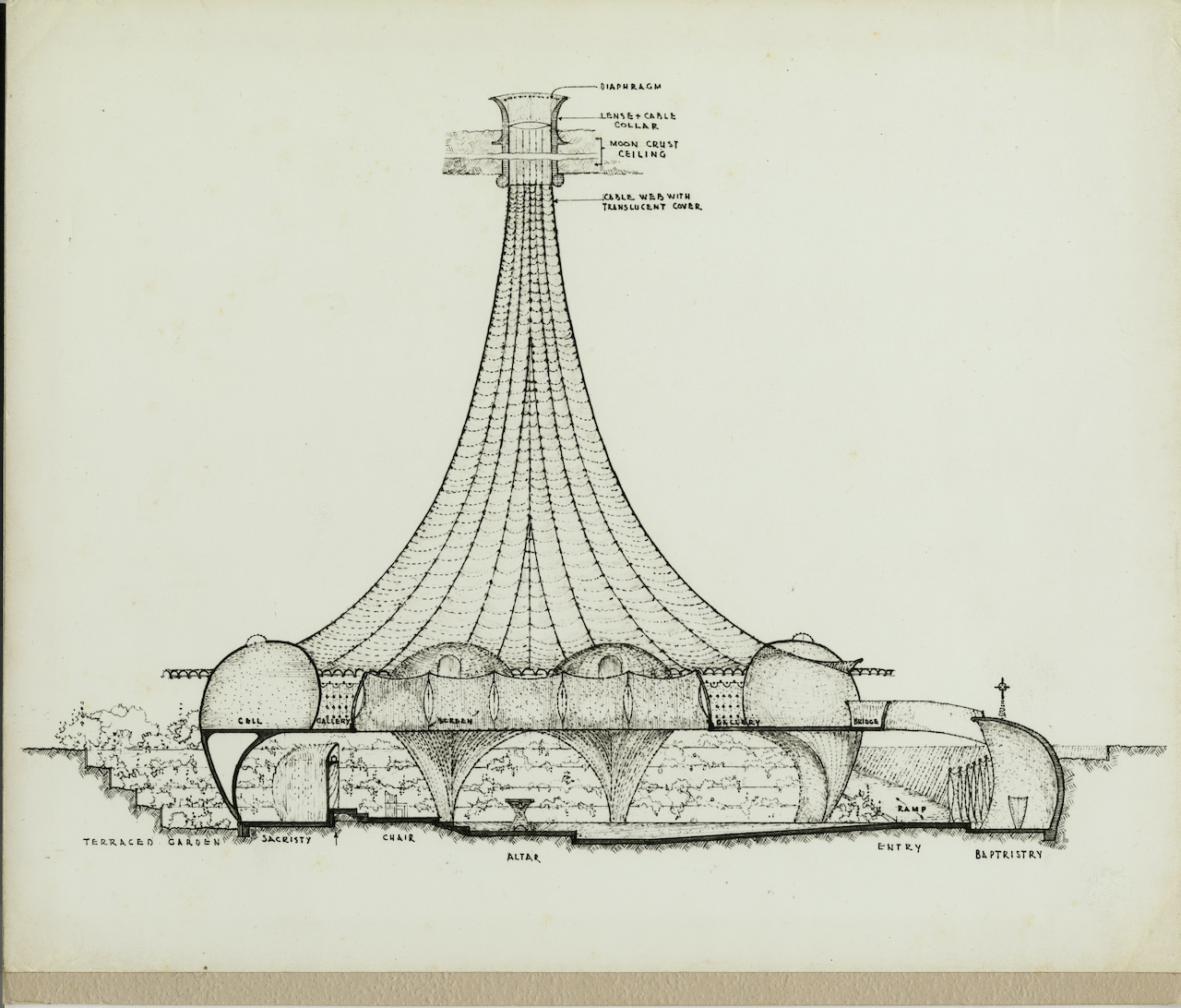 Architecturtal plans, side view of 'Doman Moon Chapel' (photo courtesy of Mark Mills Papers, Special Collections and Archives, California Polytechnic University)