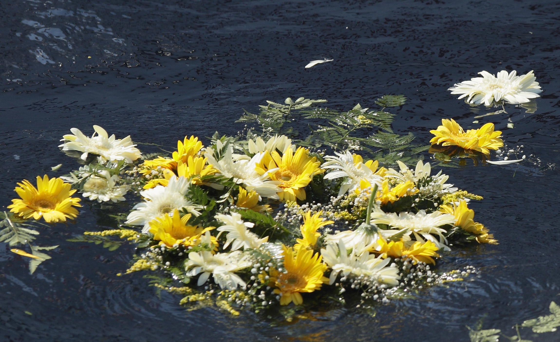 Image: A wreath of flowers thrown by Pope Francis floats in the Mediterranean Sea in the waters off the Italian island of Lampedusa in this July 8, 2013, file photo.