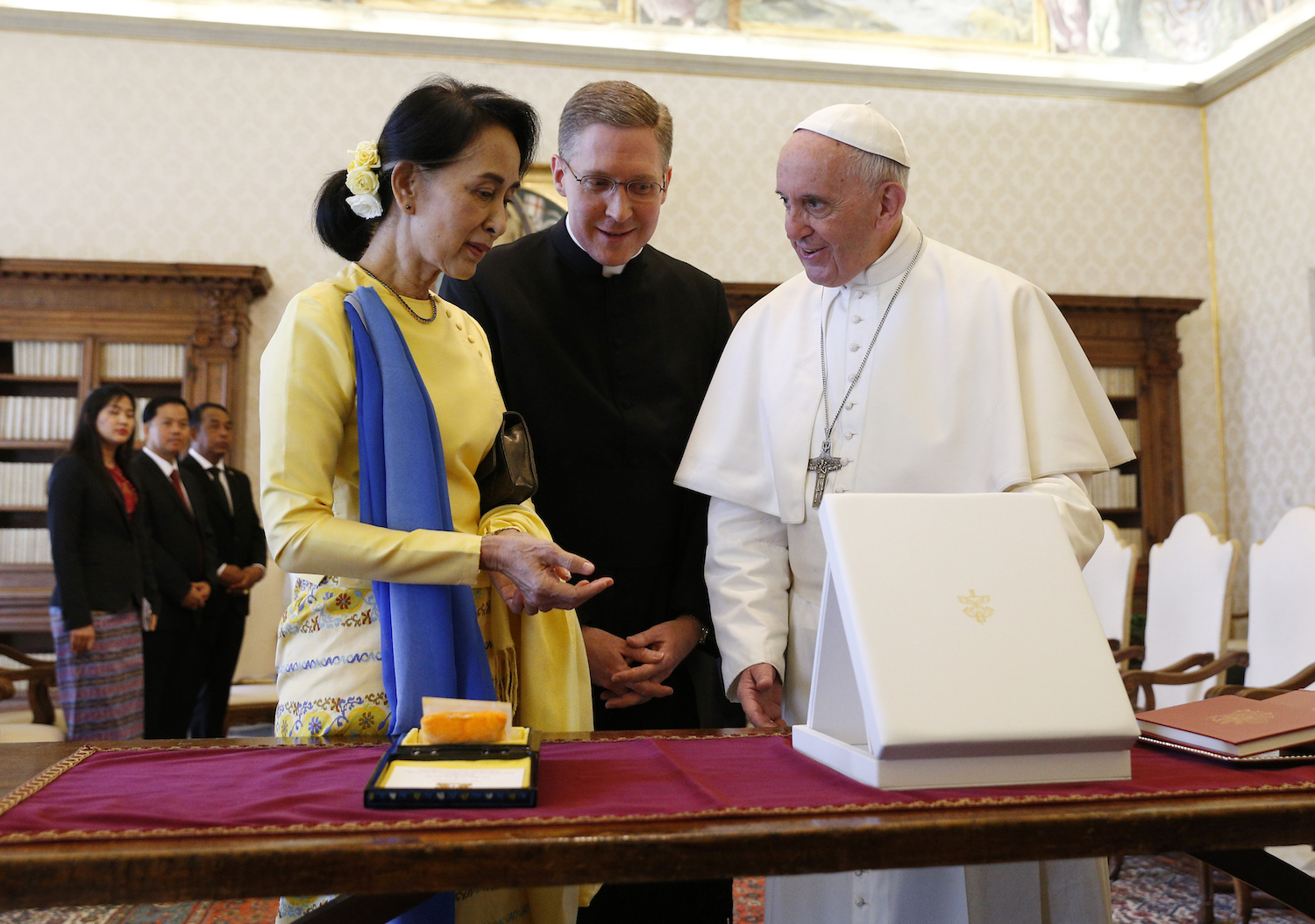 Pope Francis greets Aung San Suu Kyi, leader of Myanmar, during a private audience at the Vatican May 4. (CNS photo/Paul Haring)