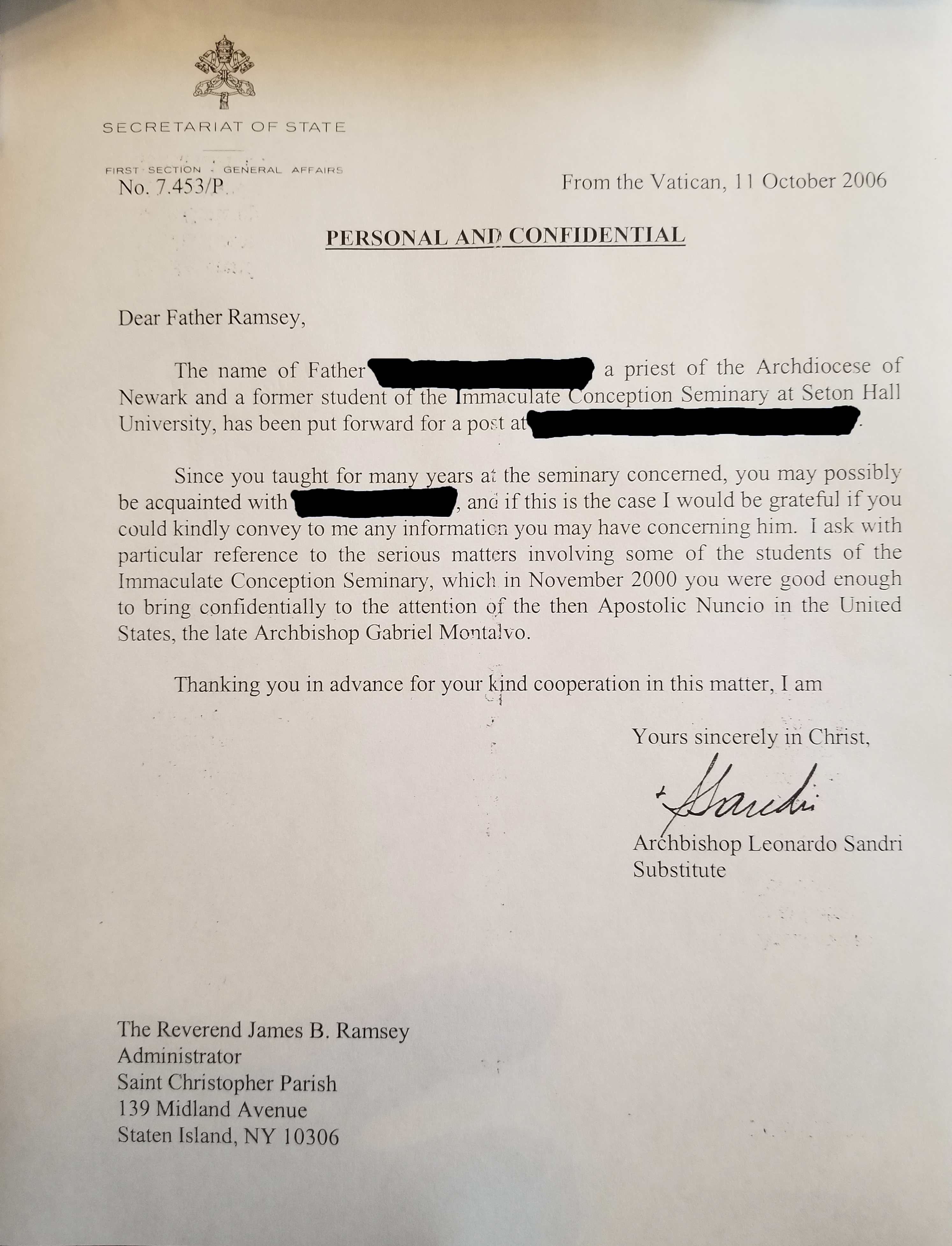 A letter dated Oct. 11, 2006 from Archbishop Leonardo Sandri, then substitute for the Vatican Secretariat of State, to Father Boniface Ramsey references a Nov. 2000 letter Father Ramsey had written to Archbishop Gabriel Montalvo, Vatican nuncio to the United States, warning about sexual abuse committed by Archbishop Theodore E. McCarrick.