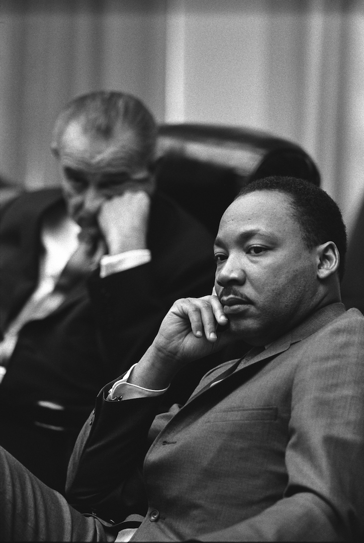 U.S. President Lyndon B. Johnson and the Rev. Martin Luther King Jr. are pictured in this 1966 photo
