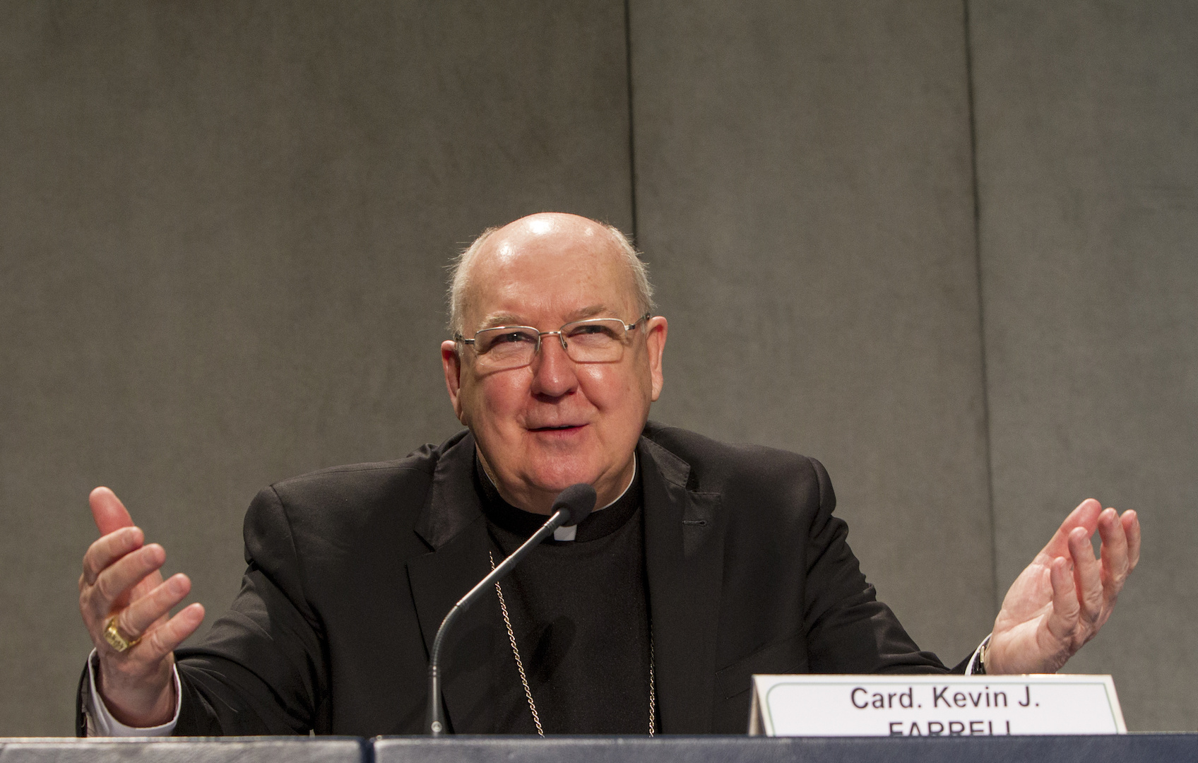 Cardinal Kevin J. Farrell, prefect of the Dicastery for the Laity, Family and Life, answers questions at a Vatican news conference on the 2018 World Meeting of Families, which will be held in Dublin. (CNS photo/Robert Duncan)