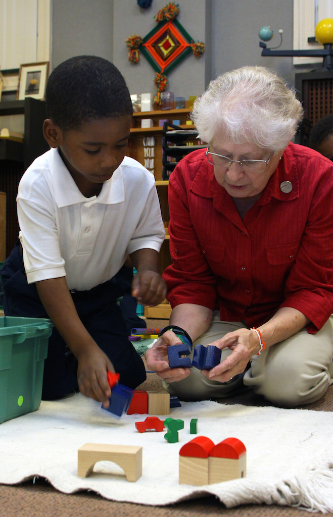 Marie Veres, H.M., principal of the Village Montessori Center in Cleveland, 2010. (CNS photo/William Rieter)