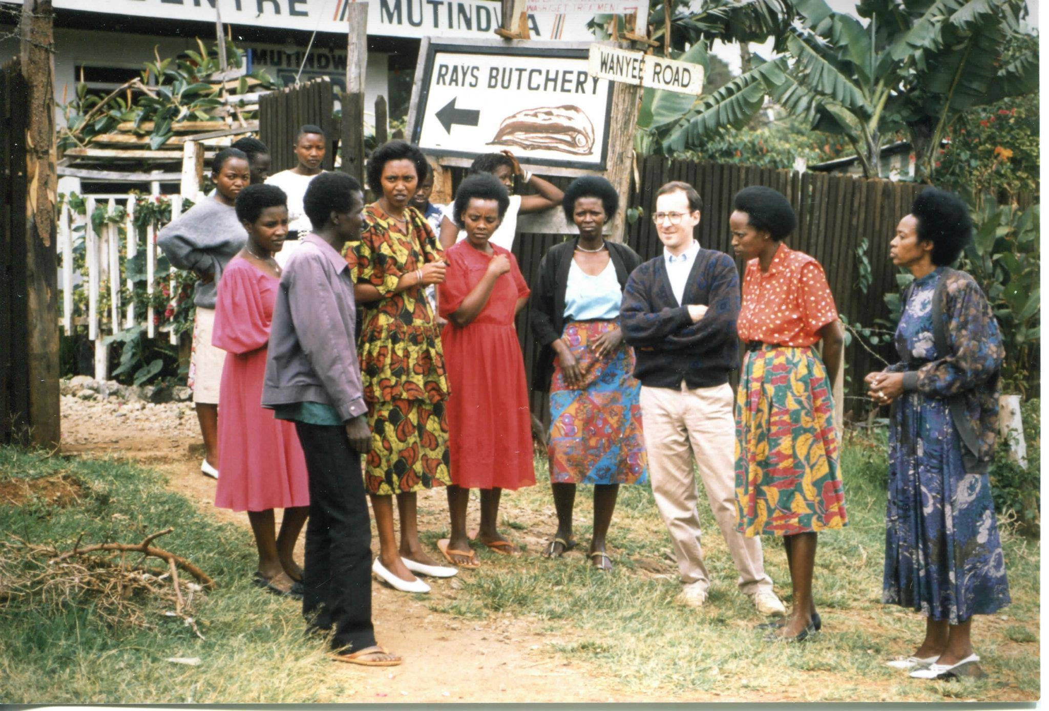 "This is a marvelous group of Rwandese women, led by Gaudiosa Ruzage (second from right). Gauddy, with a small grant from JRS, started the ""Splendid Tailoring Shop"" in a slum called Riruta in Nairobi."
