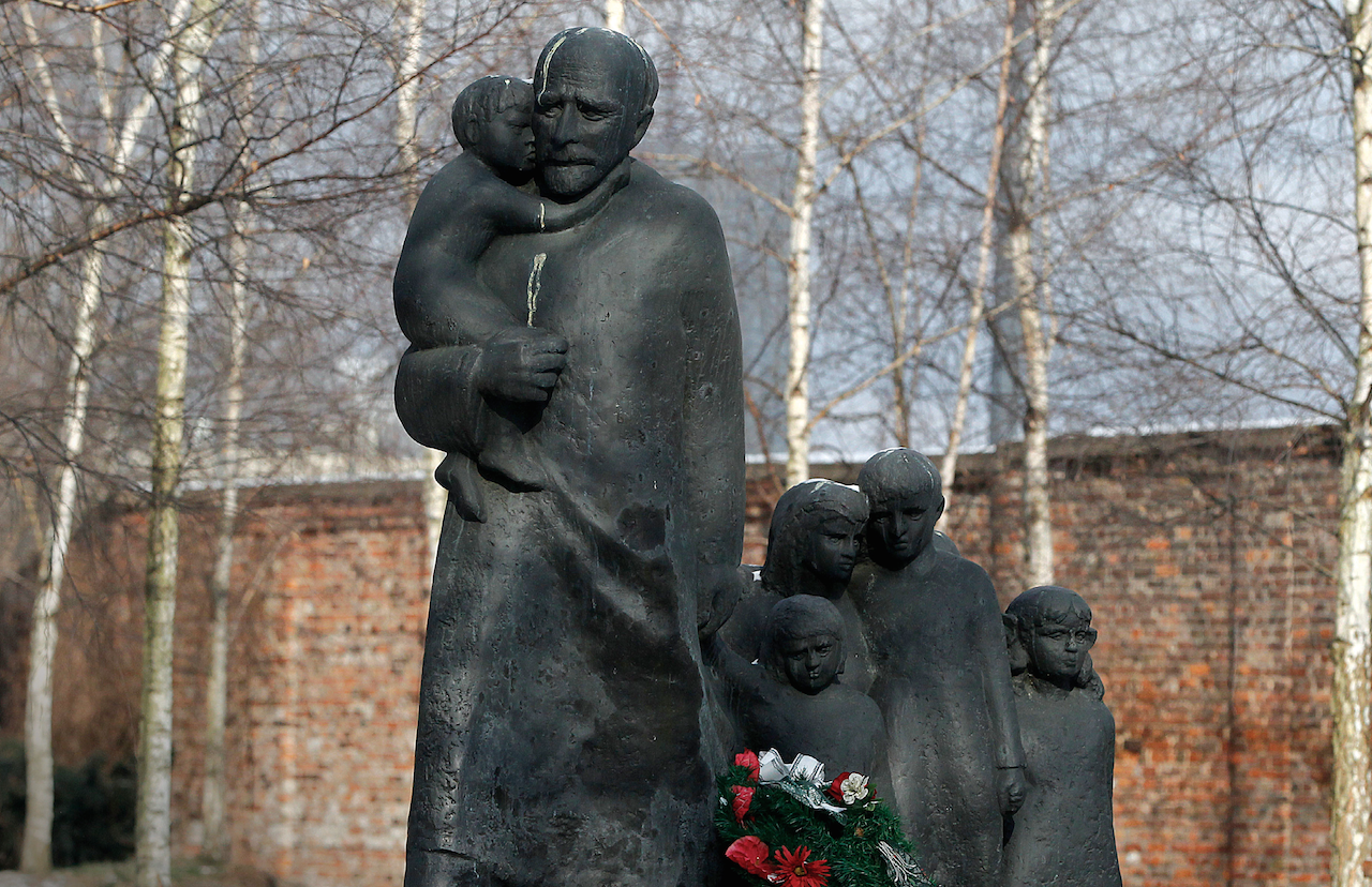 A memorial to Janusz Korczak, who died in the Treblinka death camp in 1942 together with the children of the Jewish orphanage that he ran in the Warsaw Ghetto. (AP Photo/Czarek Sokolowski)