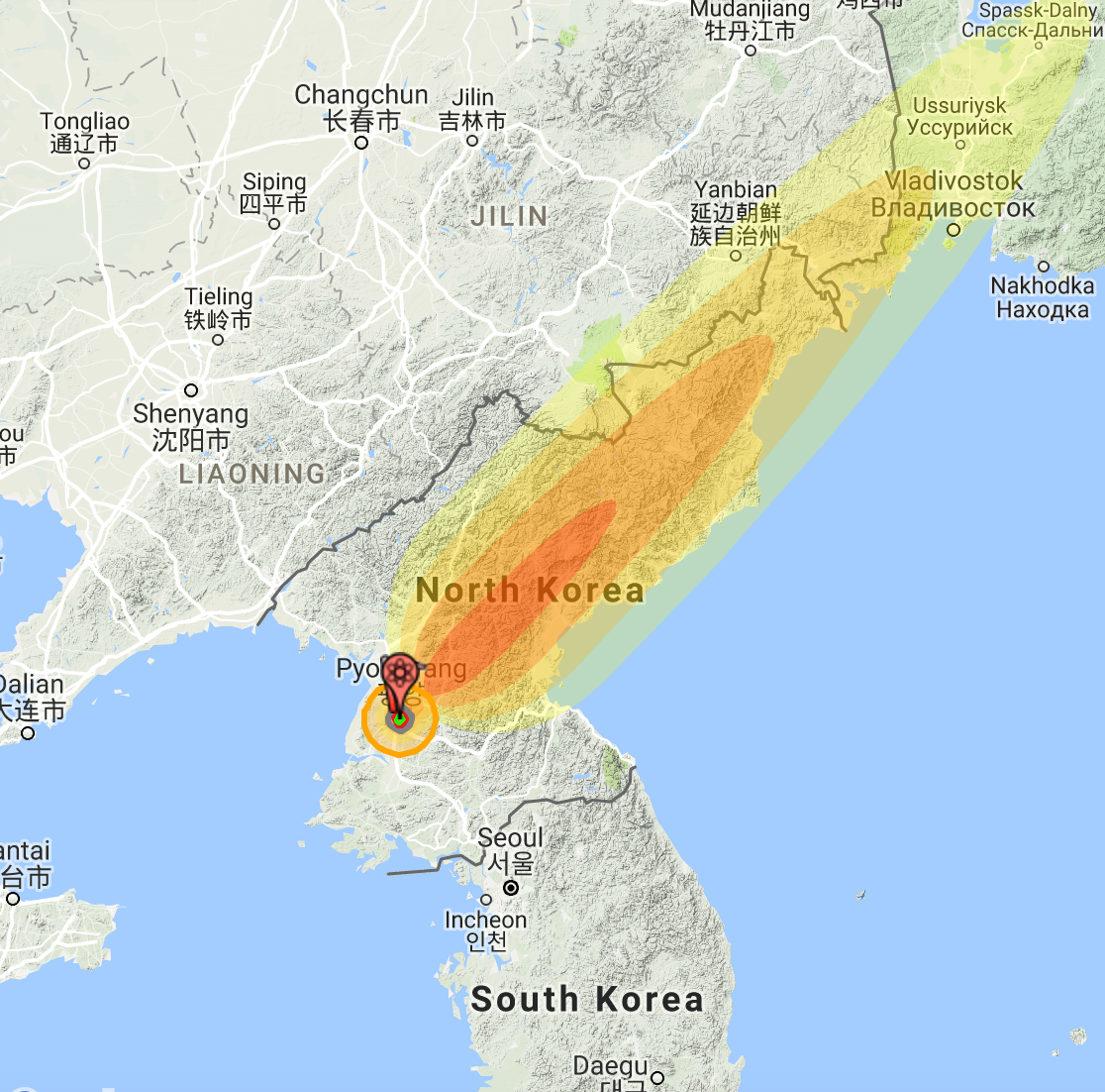 "Simulation: 15 Megaton US ""Castle Bravo"" bomb detonated in Pyongyang."