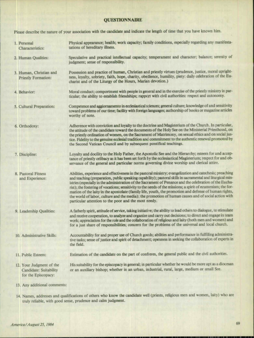 1984 questionnaire on bishops