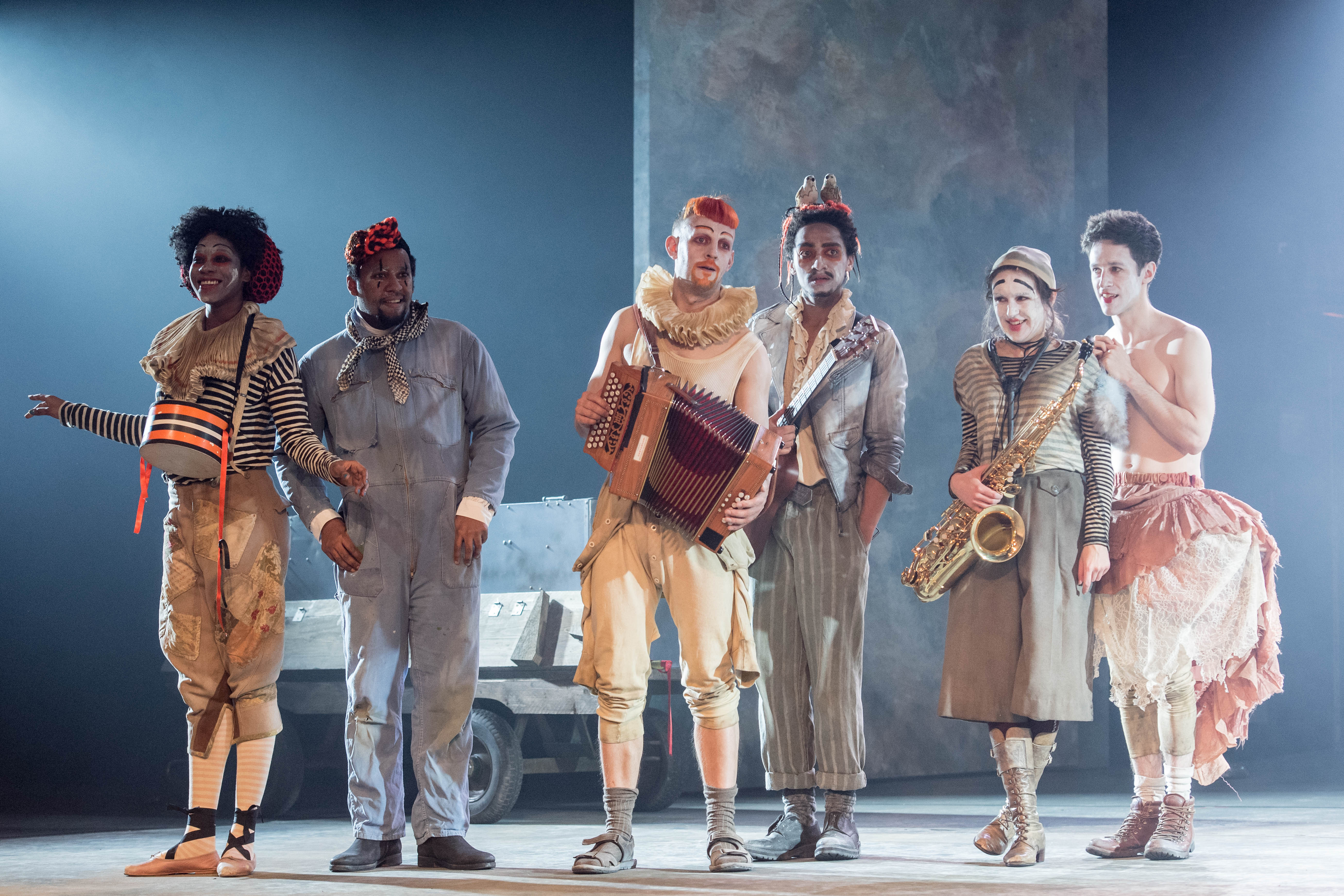 "The Players in ""Rosencrantz & Guildenstern Are Dead"" at The Old Vic. Photo by Manuel Harlan"
