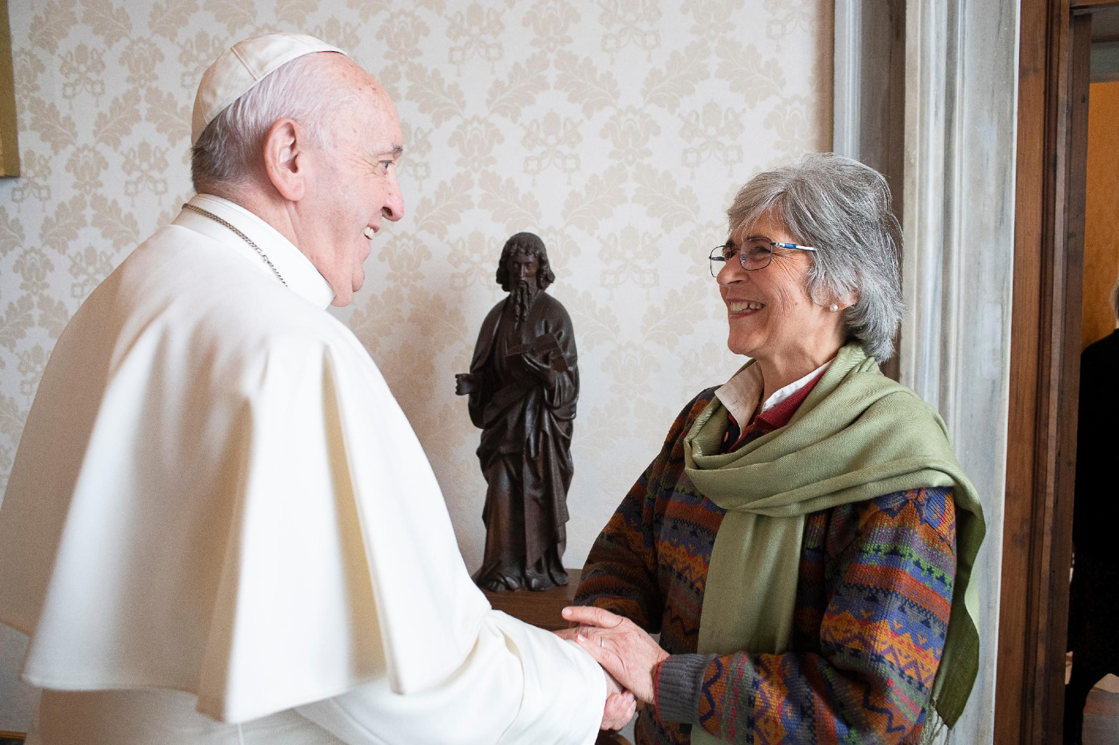 The author, María Lía Zervino, meets with Pope Francis at the Vatican on Jan. 20, 2020. (Provided by author)