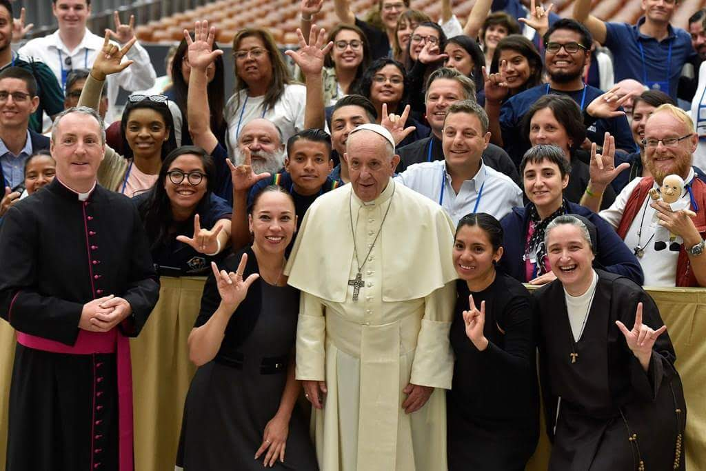 Pope Francis with members of the Deaf Catholic Youth Initiative for the Americas,