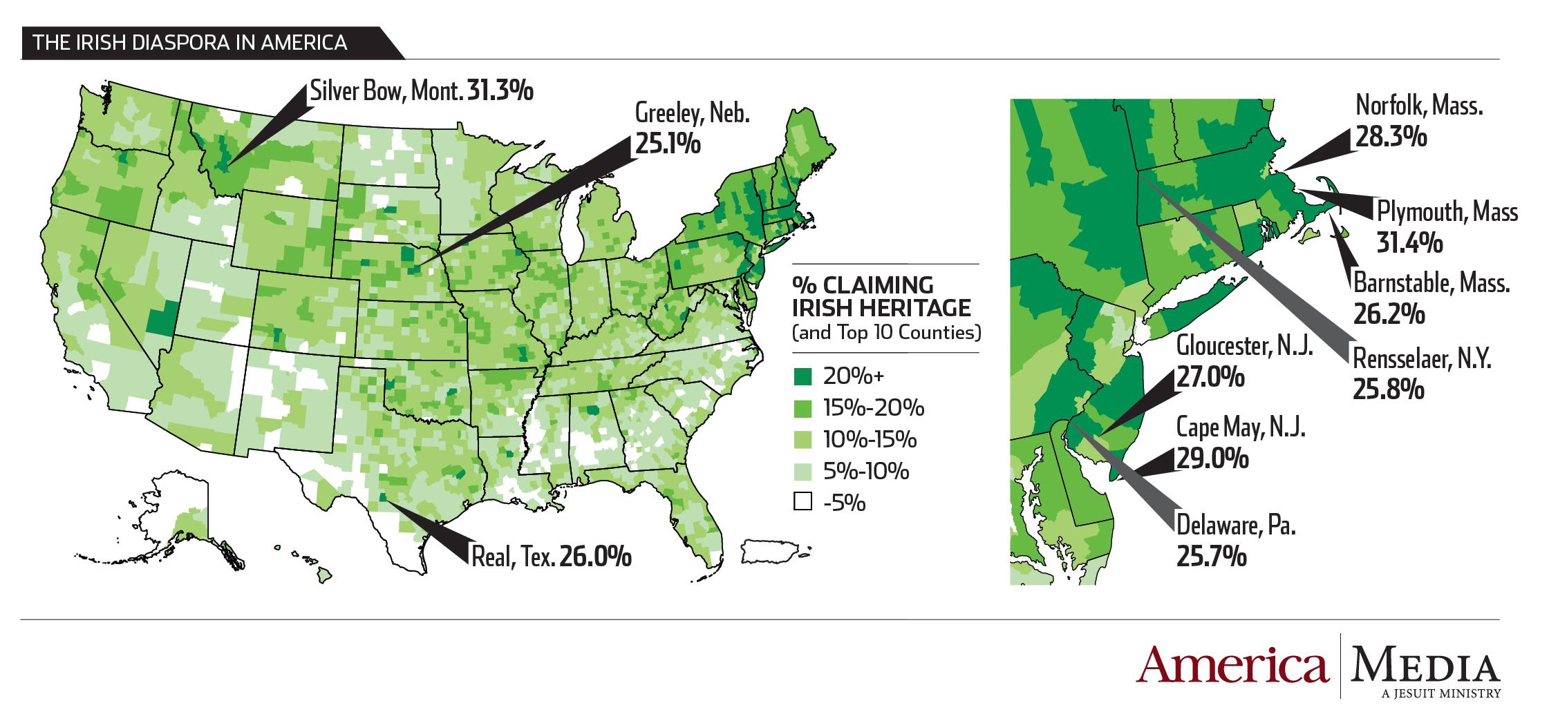 Map Of Ireland Major Cities.Infographic The Irish Diaspora In The United States America Magazine