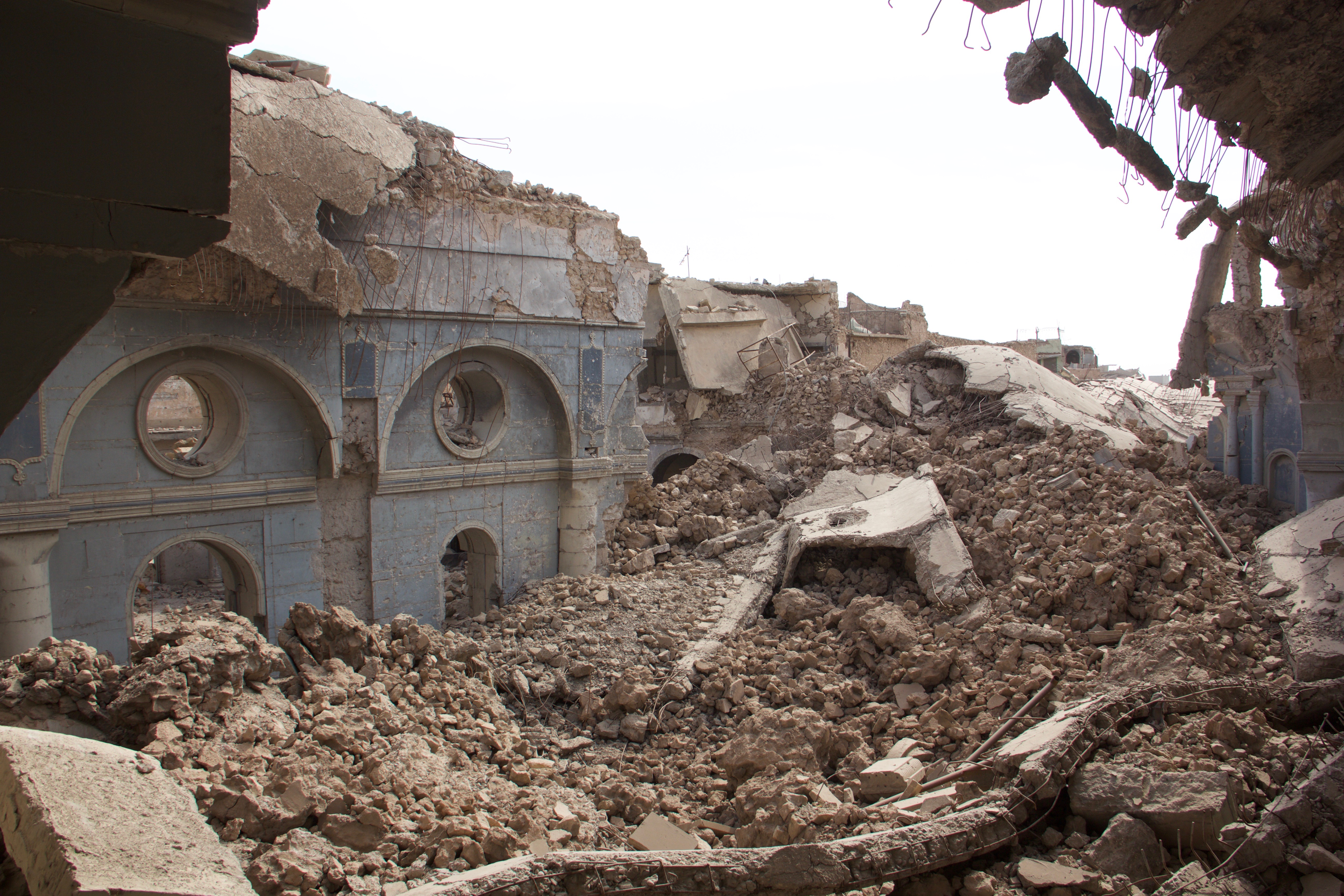 Image: The Syriac Catholic Cathedral of the Immaculate Conception still lies in complete ruin. (Kevin Clarke)