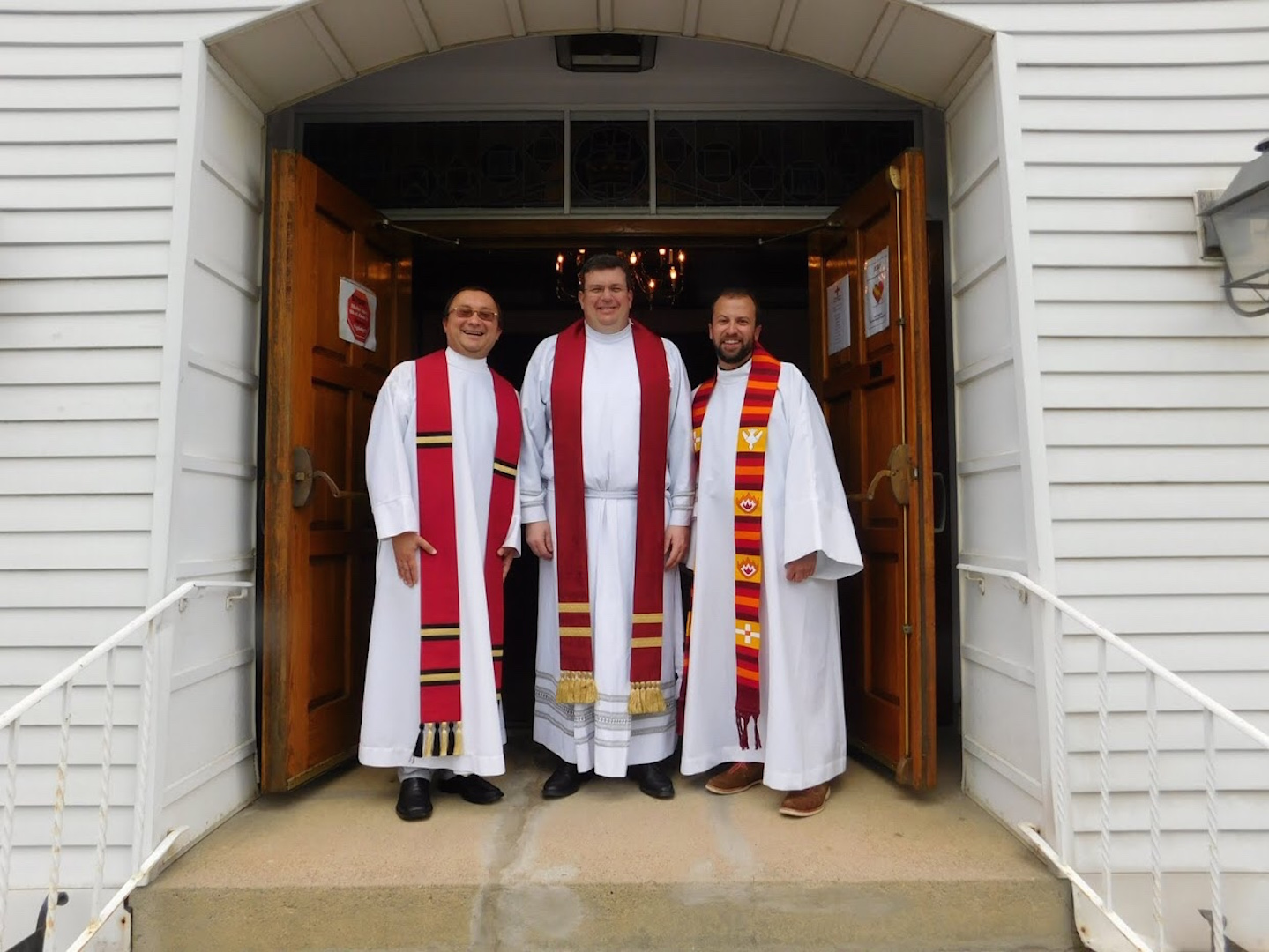From left: the Rev. Kazmierz Bem, the Rev. Marc Bishop, and the Rev. Joseph Graumann (photo: First Church/Barbara Parente).