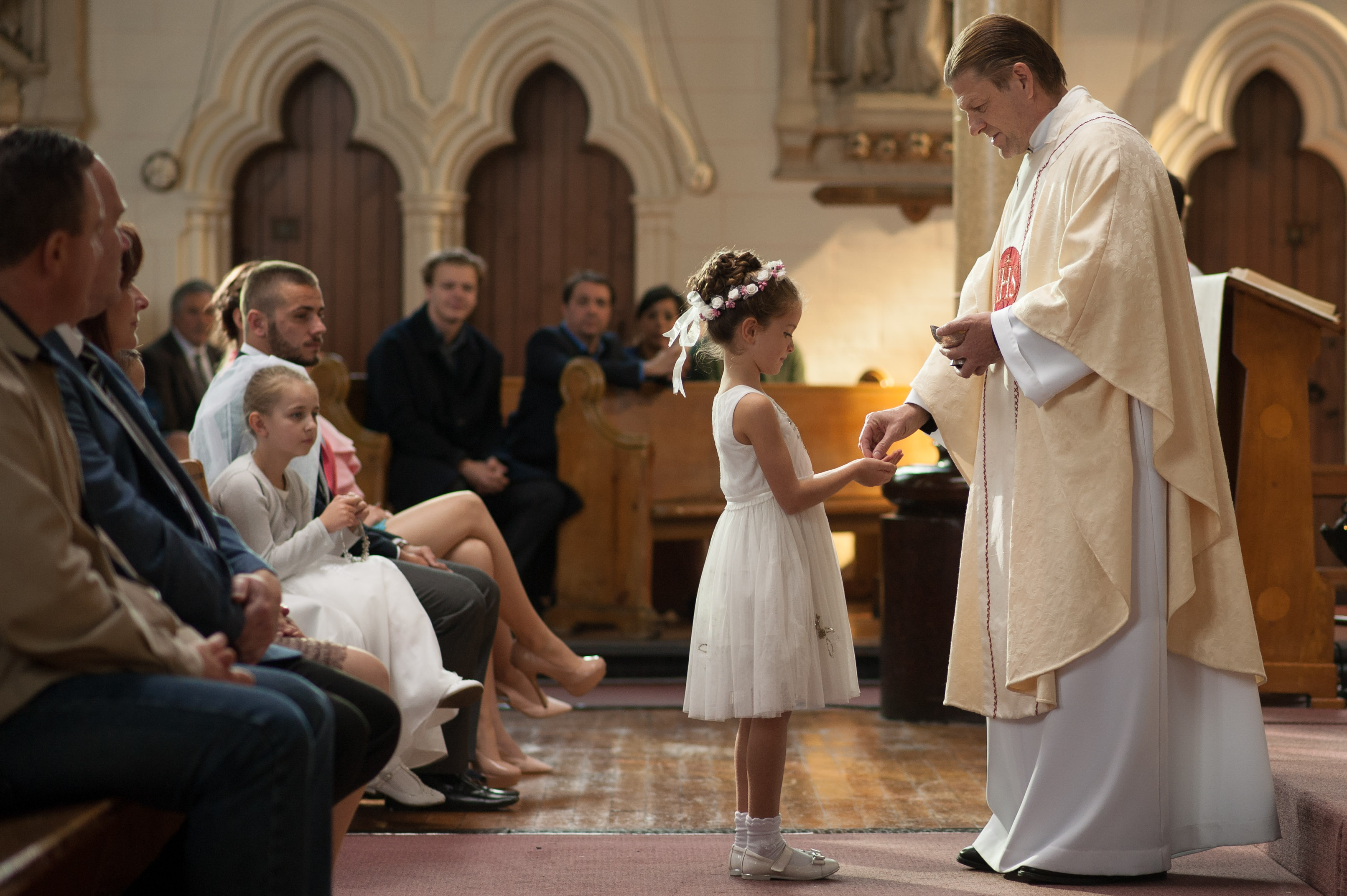 The First Communion Mass involved over 200 extras, including 40 children.