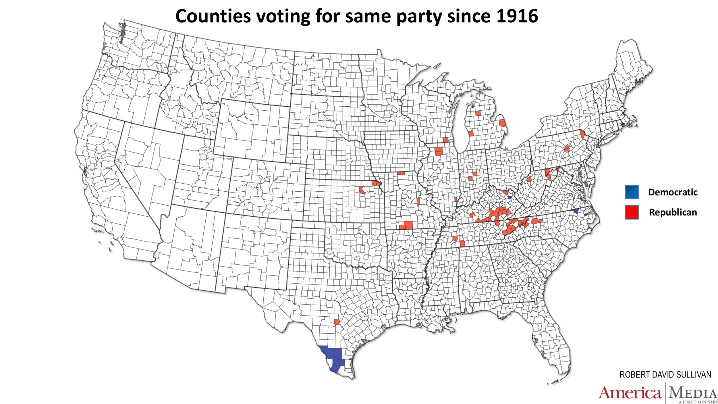 How The Red And Blue Map Evolved Over The Past Century America - Us map 2016 election red blue counties