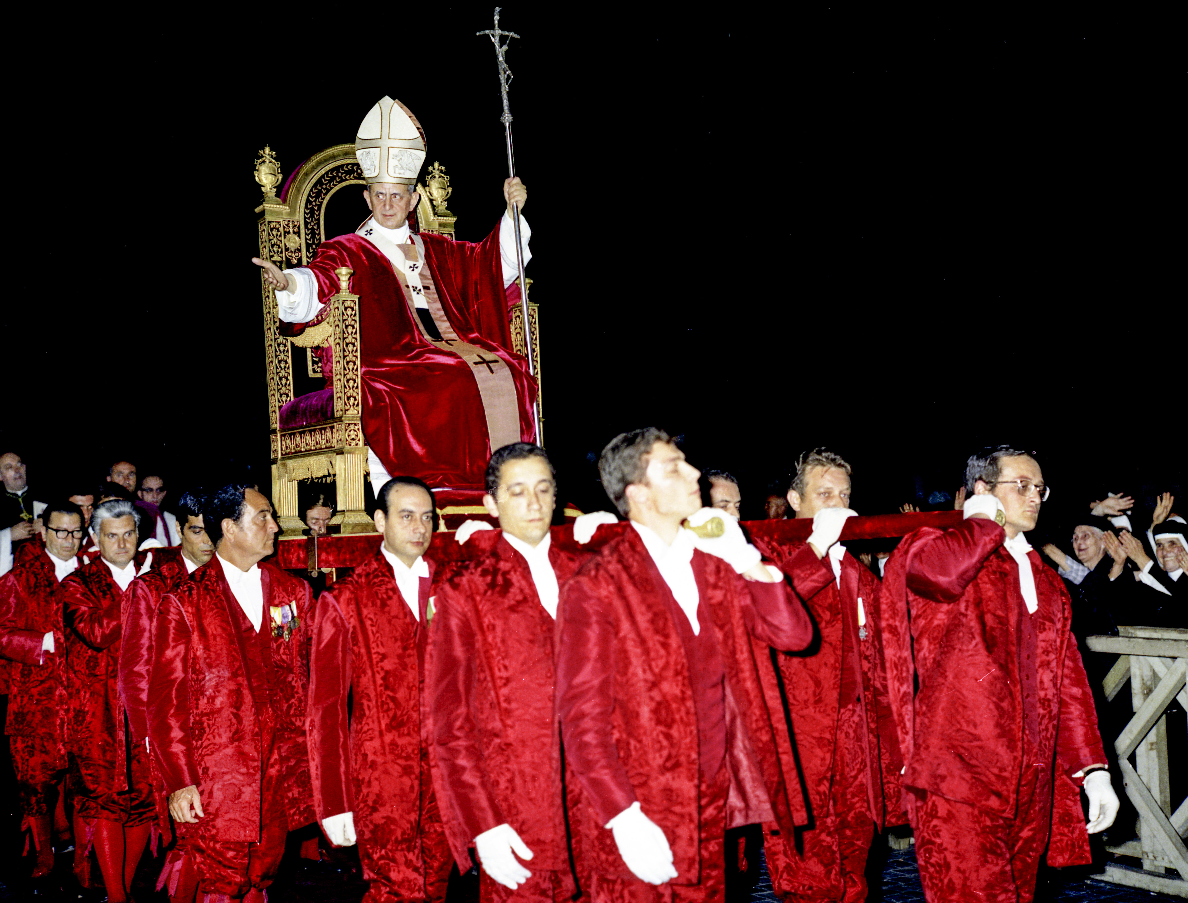 Pope Paul VI is carried in procession