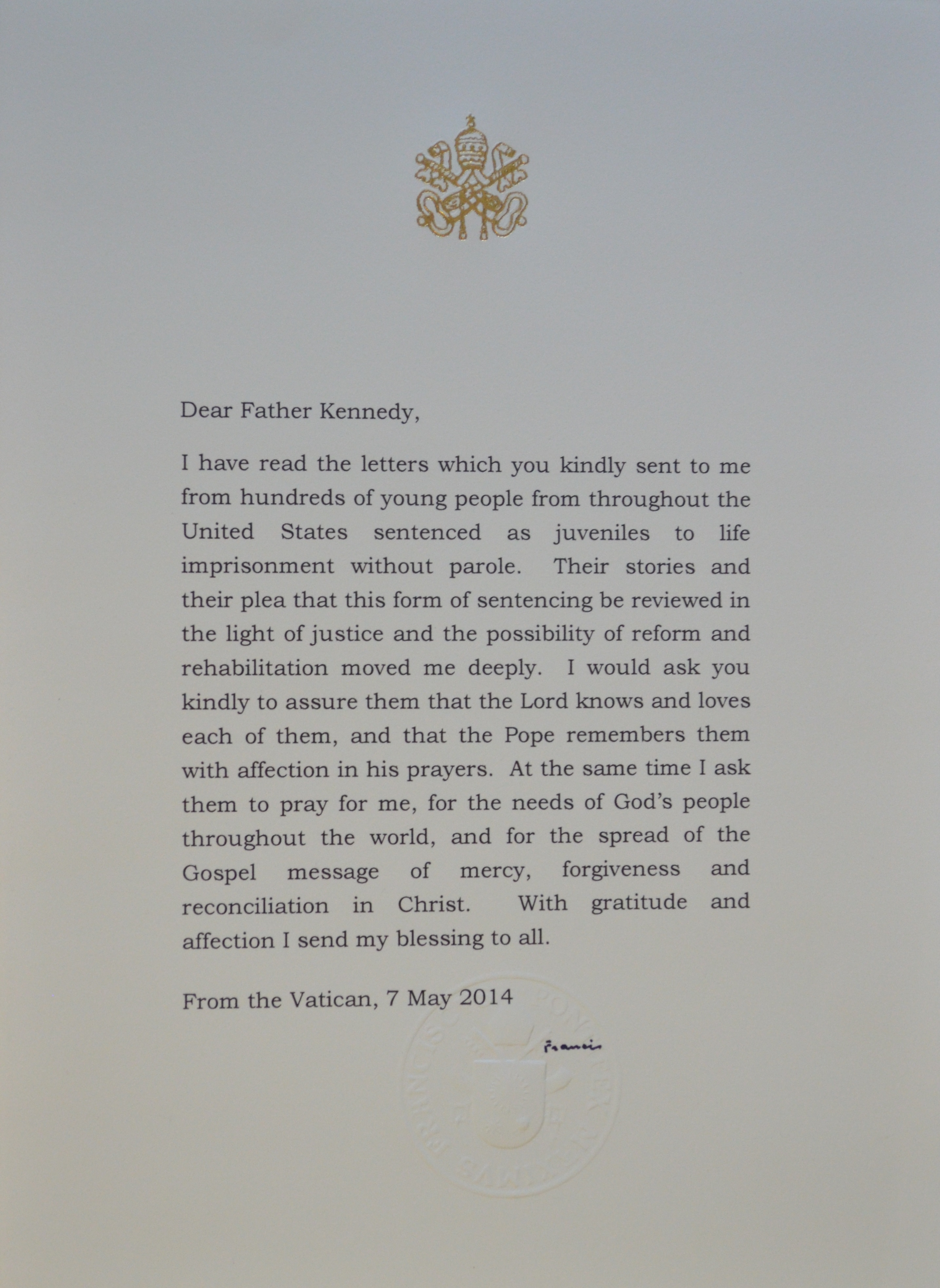 a letter from pope francis