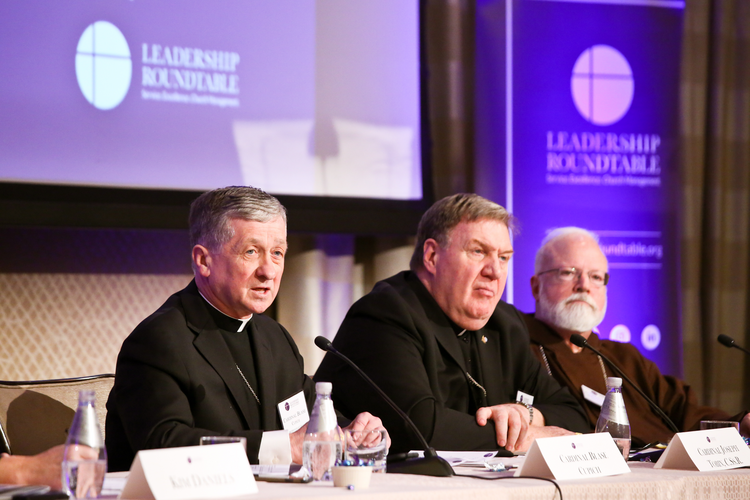 From left to right, Cardinal Blase Cupich, Cardinal Joseph Tobin and Cardinal Sean O'Malley speaking about sexual abuse at a Feb. 2-3 meeting in Washington, D.C. (Courtesy: Leadership Roundtable)
