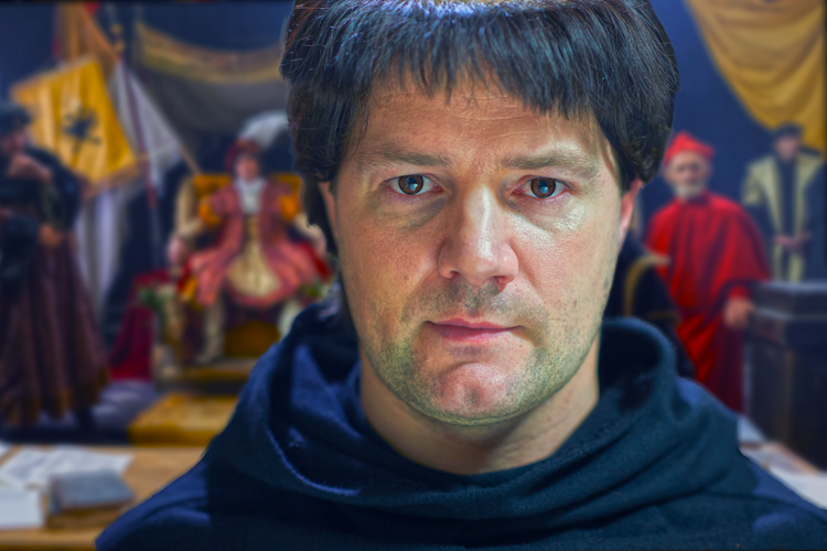 Padraic Delany as Martin Luther at the Diet of Worms in 1517. (Courtesy of Jake Thomas/PBS)