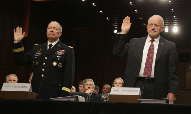 National Security Agency director General Keith Alexander and director of national intelligence James Clapper at a Senate hearing in September (Photograph: Alex Wong/Getty Images)