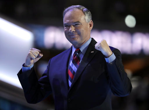 Democratic vice presidential candidate, Sen. Tim Kaine, D-Va., takes the stage during the third day session of the Democratic National Convention in Philadelphia. (AP Photo/Matt Rourke)