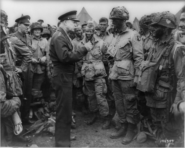 The right temperament? Dwight Eisenhower gives the order of the D-Day. `Full victory-nothing else' to paratroopers in England.