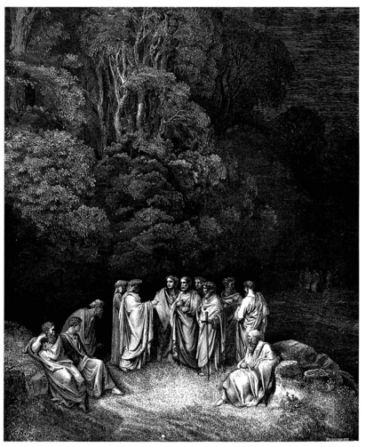 Gustave Doré's illustration to Dante's Inferno. Plate XII: Canto IV: Dante is accepted as an equal by the great Greek and Roman poets. Courtesy of Wikipedia.