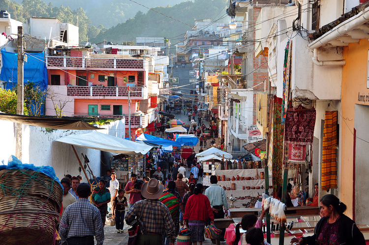 An outdoor market in Chichicastenango, Guatemala.