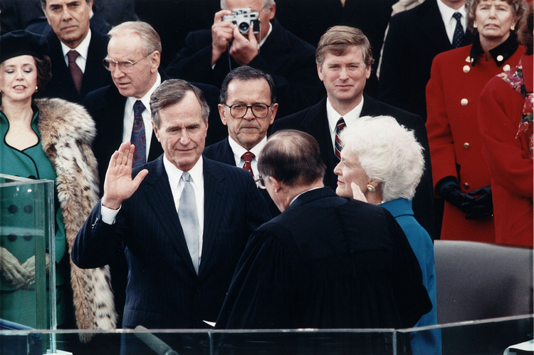 President George H.W. Bush takes the oath of office in January, 1989. (Wikipedia Commons/Library of Congress photo).