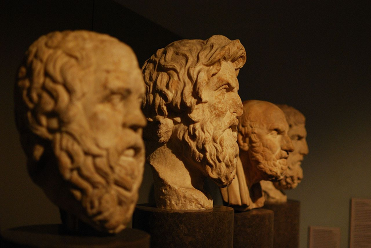 The carved busts of Socrates, Antisthenes, Chrysippus, and Epicurus. (Flickr photo/Matt Neale)