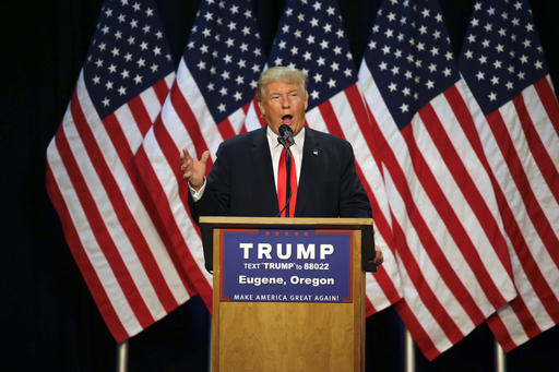 Republican presidential candidate Donald Trump speaks during a rally in Eugene, Ore., on May 6. (AP Photo/Ted S. Warren, File)