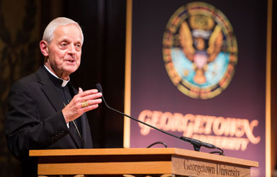 Cardinal Donald Wuerl, Archbishop of Washington, speaks during the Inititiave on Catholic Social Thought and Public Life inaugural event.