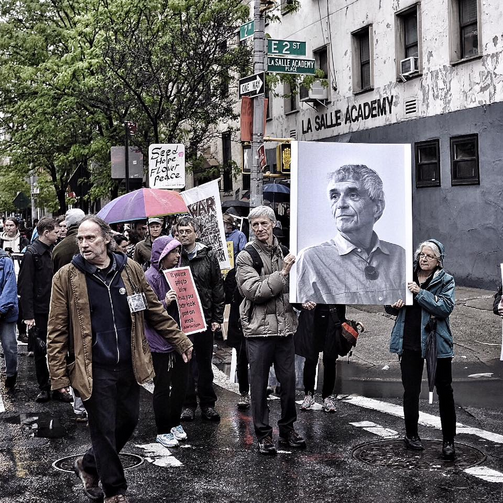 The march to Daniel Berrigan's funeral on May 6. All photos by Jonathan Giftos.