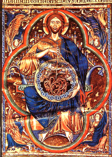 Christ in glory on parchment miniature, 1252