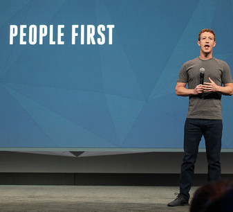 Mark Zuckerberg on stage at Facebook's F8 Conference in 2014, by Maurizio Pesce, via Flickr.