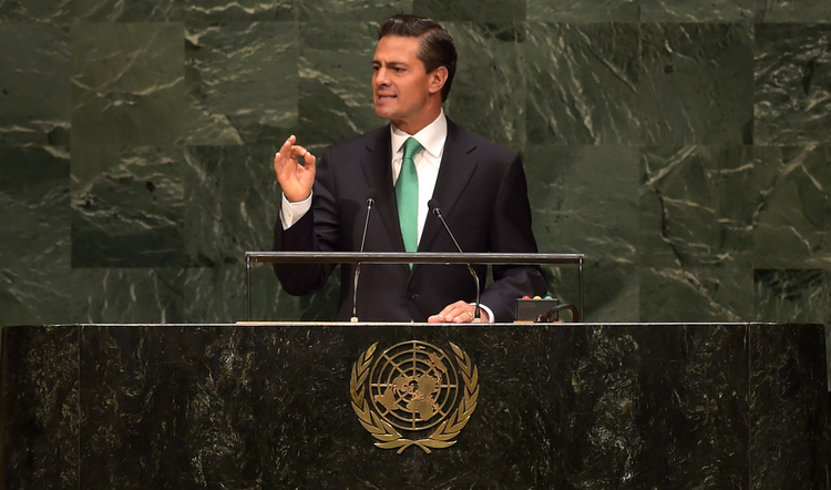 Mexican President Enrique Peña Nieto speaks at the United Nations General Assembly in 2014. (Flickr / Mexican government photo)