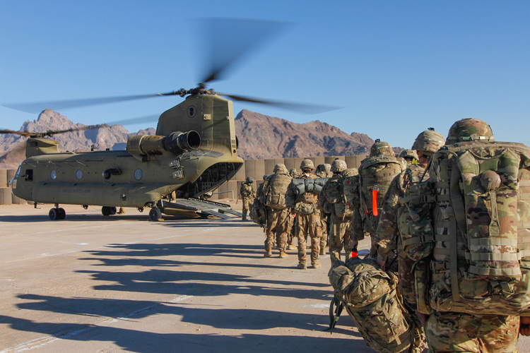 Mission impossible? U.S. soldiers assigned load onto a Chinook helicopter to head out and execute missions across Afghanistan in January 2019. Photo courtesy Department of Defense/1st Lt. Verniccia Ford