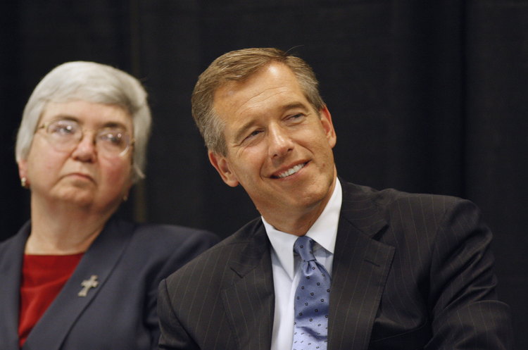 Sister Mary Ann Walsh and Brian Williams at the Catholic Common Ground Initiative's annual Philip J. Murnion Lecture at The Catholic University of America in 2008. (CNS photo/Nancy Wiechec)