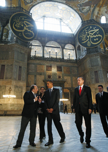 U.S. President Barack Obama and Turkey's Prime Minister Recep Tayyip Erdogan, second from right, visit Hagia Sophia in Istanbul, Turkey