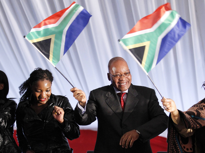 FIVE MORE YEARS? South African President Jacob Zuma campaigns for another term of office.