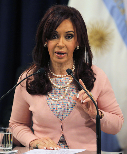 Argentina's president Cristina Fernandez has called the hedge funds 'vultures' (CNS photo/Enrique Marcarian, Reuters)
