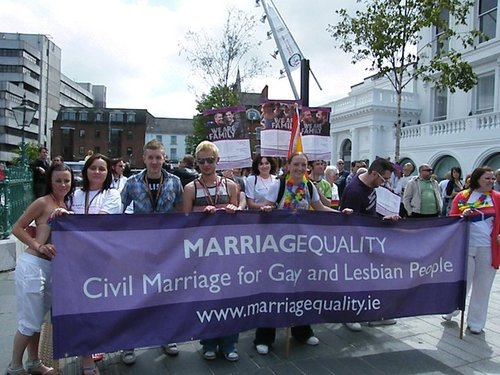 "The campaign for same-sex marriage in Ireland emphasized personal stories and door-to-door campaigning. (""Cork Pride"" photo from www.marriagequality.ie)"