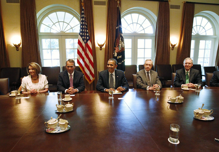 U.S. President Barack Obama meets with congressional leaders. (CNS photo/Jason Reed, Reuters)