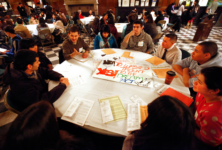 Students take part in a meeting about the DREAM Act during a National Migration Week program. (CNS photo/Karen Callaway, Catholic New World)